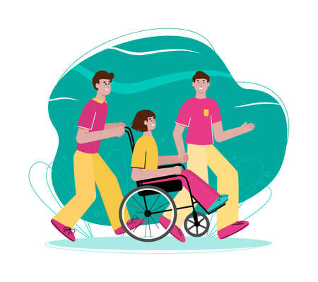 Teen girl in wheelchair with male friends - cartoon young people