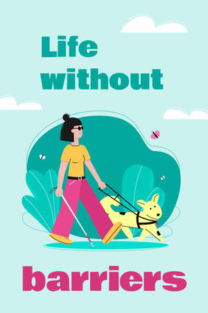 Life without barriers for disabled people, flat cartoon vector illustration.