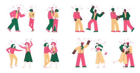 Cartoon people fighting - isolated set of couples conflict and resolution