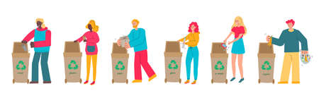People characters sorting rubbish in trash bins vector illustration isolated.