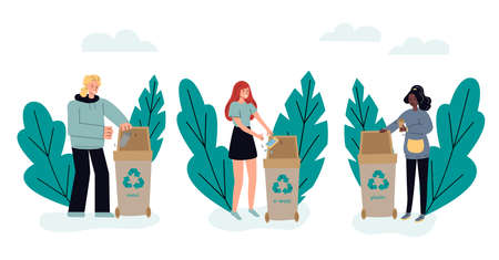 People sorting trash in dumpster containers sketch vector illustration isolated.