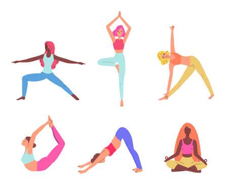 Set of women practising yoga various asanas sketch vector illustration isolated.