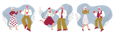 Banner with elderly people dancing sketch cartoon vector illustration isolated. Illustration