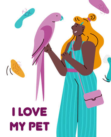 I love my pet - cartoon card with young woman holding colorful pink parrot