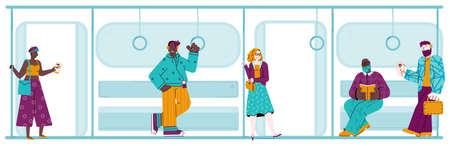 People in subway train - flat banner with cartoon men and women Illusztráció