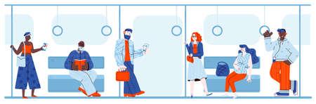 Cartoon people riding in subway train using modern technology and reading book. Illusztráció