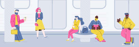 People at subway station waiting for the train - flat vector illustration Illusztráció