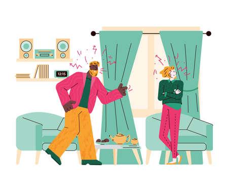 Family quarrel or couple conflict flat cartoon vector illustration isolated. Vettoriali