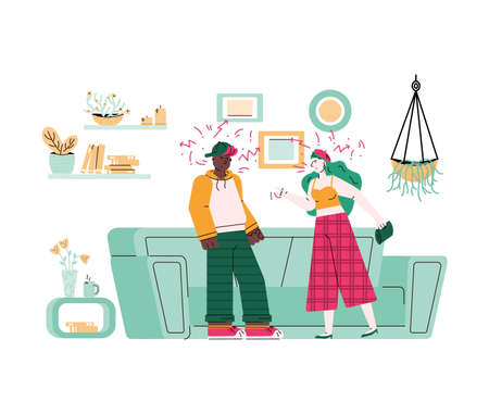 Ð¡ouple quarreling and family conflict, flat cartoon vector illustration isolated.