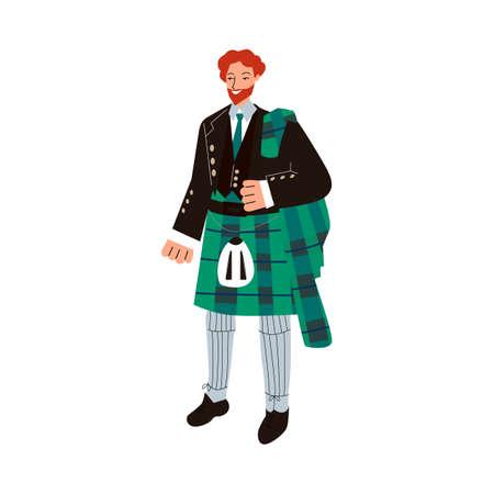 Ginger man in traditional male Scottish costume - green tartan suit with kilt skirt. Illusztráció