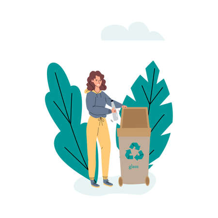 Woman putting plastic bottle in trash bin, sketch vector illustration isolated.