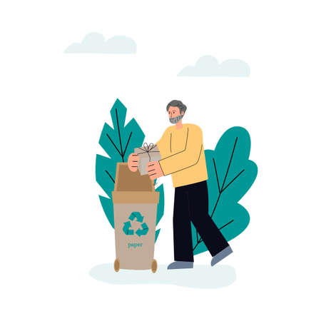 Man sorting paper waste in trash container, sketch vector illustration isolated.