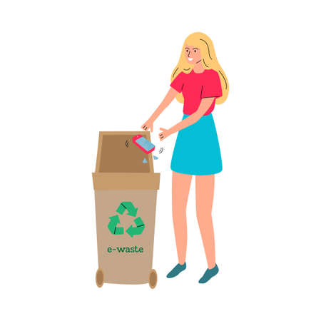 Cartoon woman throwing broken phone in e-waste recycling bin