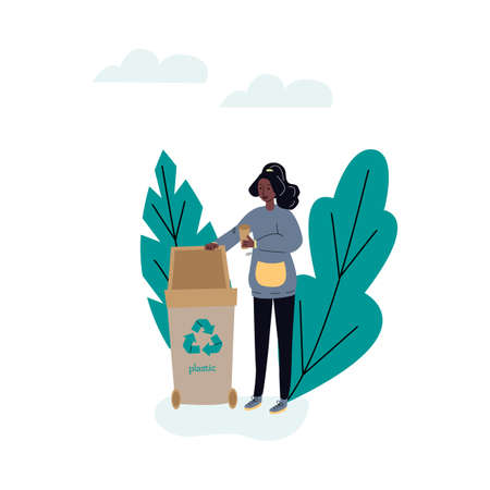Woman cartoon character sorting plastic trash vector illustration isolated.