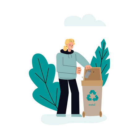Metal trash sorting and recycling concept sketch vector illustration isolated. Stock Illustratie
