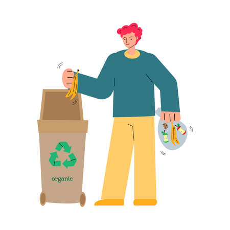 Man putting organic waste into container sketch vector illustration isolated.