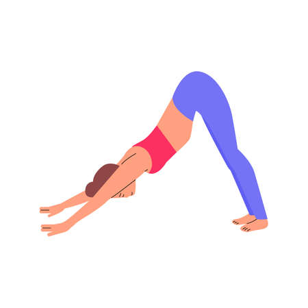 Cartoon woman in downward facing dog yoga pose - stretching fitness exercise.