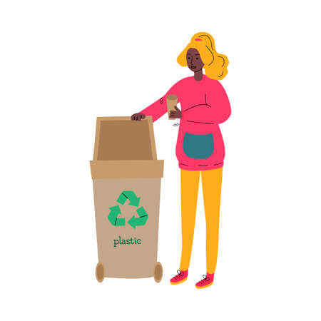 Cartoon woman putting plastic cup in recycling bin isolated on white background. Stock Illustratie
