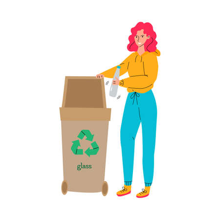 Recycling with girl puts waste for reclamation vector illustration isolated.