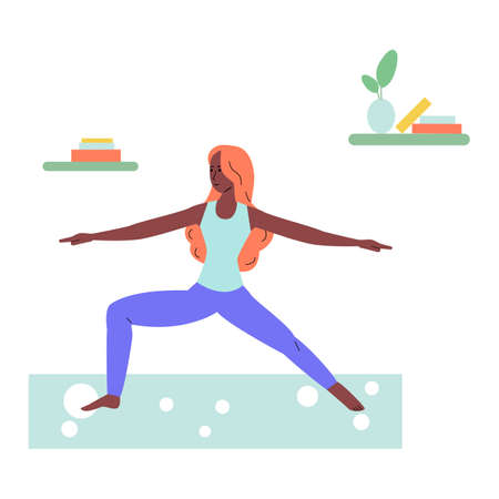 Cartoon woman standing in warrior yoga pose - girl doing fitness exercise