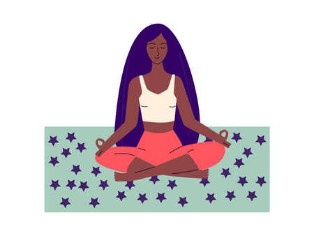 African american woman meditates in yoga pose flat vector illustration isolated. Illusztráció