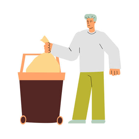 Cartoon man throwing clean trash bag in garbage container