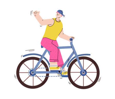 Young man or guy cartoon character riding bike, vector illustration isolated.