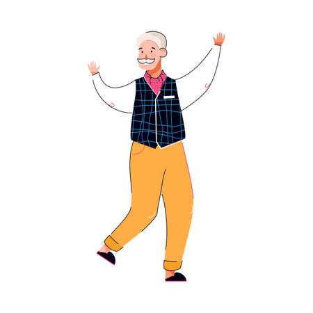 Cute bearded elderly man dancing and smiling, vector illustration isolated.