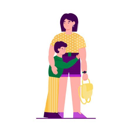 Child snuggles up to mom and mother hugging him, vector illustration isolated.