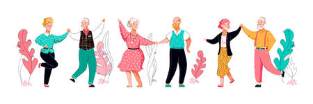 Elderly happy people cartoon characters dance vector illustration isolated.