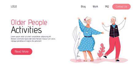 Older people activities banner with senior people, cartoon vector illustration.