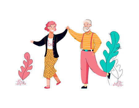 Senior grandmother and grandfather dancing cartoon vector illustration isolated.