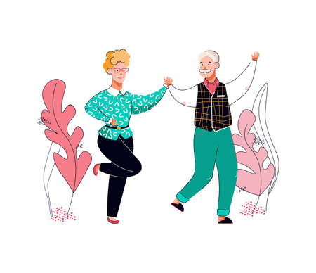 Couple of senior man and woman dancing, cartoon vector illustration isolated. Vectores