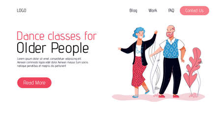 Banner or landing page for elderly people dance classes, vector illustration. Vectores