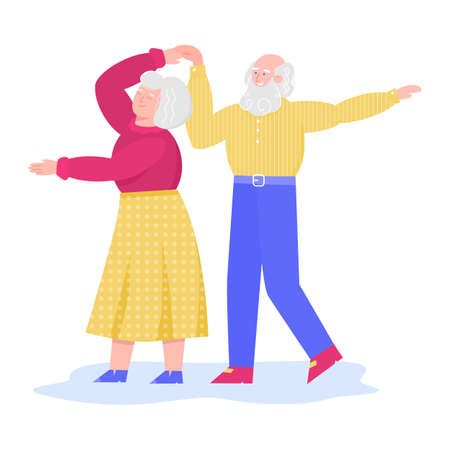 Senior dancing couple cartoon characters, sketch vector illustration isolated.