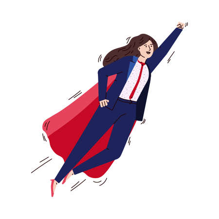 Flying business woman in superhero cape, sketch vector illustration isolated. Illustration