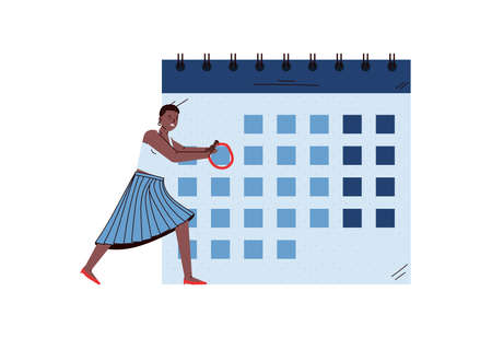 Business woman takes notes on calendar, sketch vector illustration isolated.