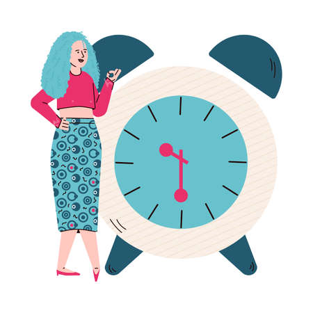 Cartoon woman standing by giant clock counting time Ilustração