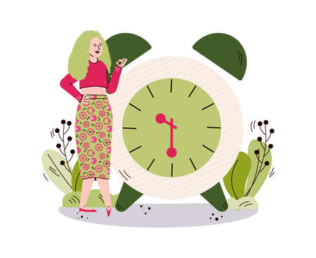 Woman character on backdrop of alarm clock, sketch vector illustration isolated. Vettoriali