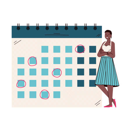 Cartoon woman standing by giant calendar with month schedule Vettoriali