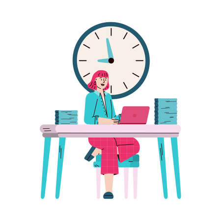 Business woman in office with wall clock, sketch vector illustration isolated. 矢量图像