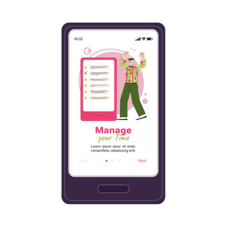 Manage your time phone app template - cartoon man with to do list