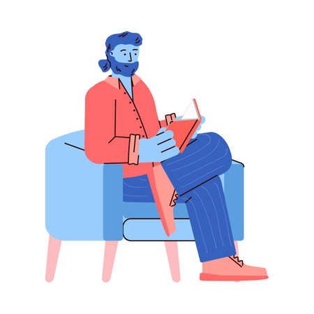 Reading bearded man sitting in chair with book, vector illustration isolated. Vettoriali