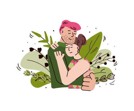 Loving couple hugging and embracing, cartoon vector illustration isolated.  イラスト・ベクター素材