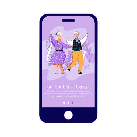 Mobile phone app interface for elderly people dance classes, vector illustration. Vectores