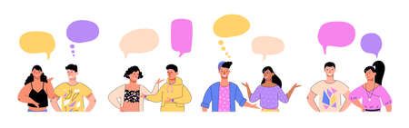 People communicating and leading dialogue, vector illustration isolated. Vektorgrafik