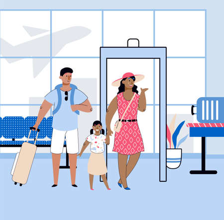 Travel with family with people in airport, sketch cartoon vector illustration.