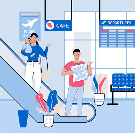 Traveling with child family on escalator at airport, sketch vector illustration.