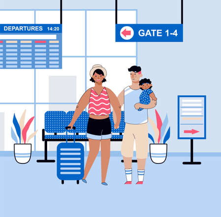 Airport terminal with family in departure hall, sketch vector illustration.