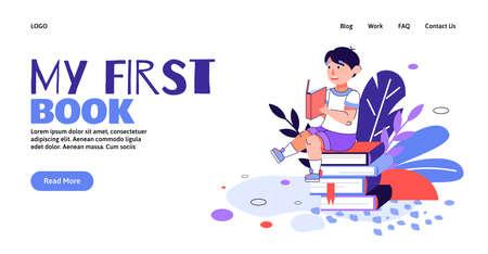 My first book - banner header and reading child, cartoon vector illustration. Illusztráció